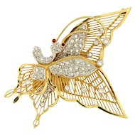 Vintage Handmade Fluttering Butterfly 18KY Gold Diamond Brooch Pin or Pendant