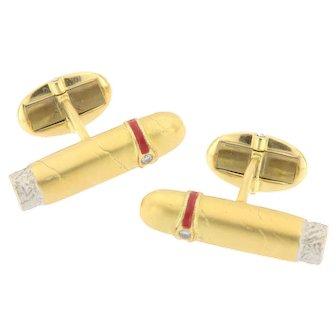 Vintage 18K Cigar Shaped Cufflinks