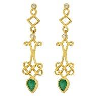 Vintage 18KT Emerald and Diamond Earrings