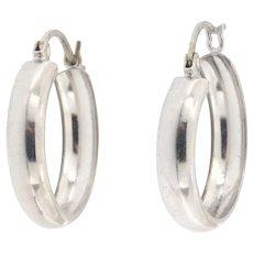 Vintage 14K White Gold Hoop Earrings