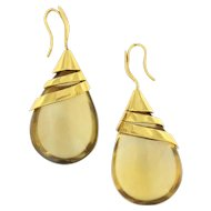 22 Kt Yellow Gold Designer Citrine Droplet Earring
