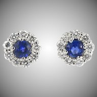 Vintage Flower Shaped Sapphire and Diamond Earrings