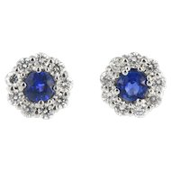 Vintage Flower Shaped Sapphire and Diamond Earrings