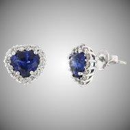 Vintage Heart Shaped Sapphire and Diamond Earrings