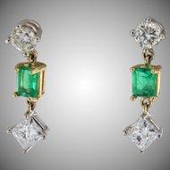 Vintage Emerald and Diamond Dangling Earrings
