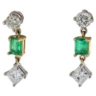 Vintage Emerald and Diamond Dangling Earrings