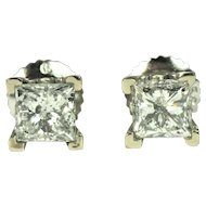 Pair of 1 ct Diamond Princess Cut Stud Earring