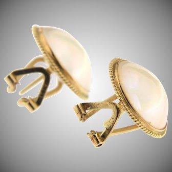 Vintage Mabe Pearl 14K Earrings