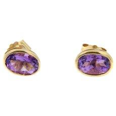 14 kt Gold Amethyst Stud Earring