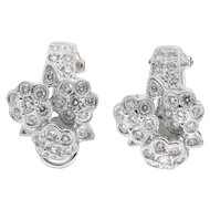 Vintage Diamond Floral Motif Earrings