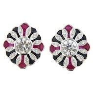 Vintage 18 KT 5.90 ct Diamond and Gemstone Earrings