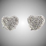 Vintage 18kt Heart Shaped Diamond Earrings