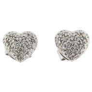 Vintage 18kt Heart Shaped Diamond Earrings
