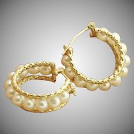 Vintage Hoop Earring with Pearls, 10 kt Gold