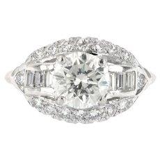 Platinum 3.20 ct t.w  Diamond Engagement Ring, Platinum circa 1960