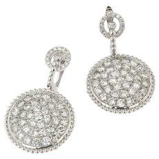 Vintage 5.50ct Diamond Circle Earrings