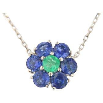 14kt Sapphire Emerald Diamond Pendant on Diamond Chain