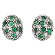 Vintage Diamond and Emerald Oval Earrings