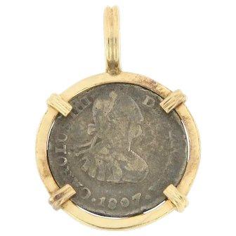 Genuine 1 Real Carolus III Dei Gratia 1801 Coin Framed in 14 KT Pendant