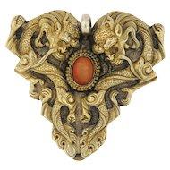 Vintage Coral 18k Gold Pendant