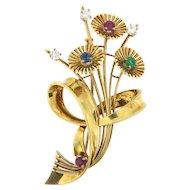 Vintage 18K Multi-Gemstone Flower Brooch