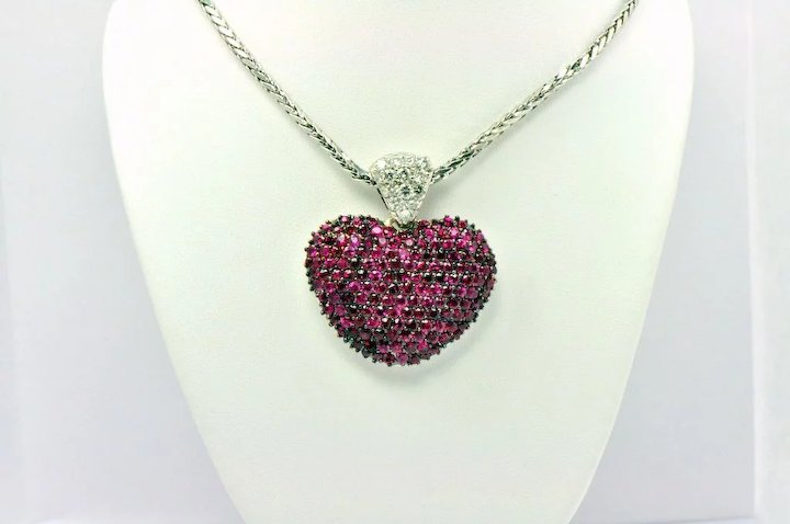 Large ruby diamond puffed heart pendant on chain 14kt g kozi large ruby diamond puffed heart pendant on chain 14kt g aloadofball Images