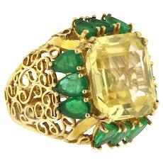 Rare 21.86ct Sapphire and emerald Ring, circa 1970, no Heat.