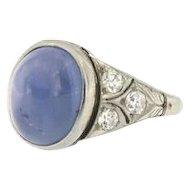 Antique Star Sapphire Diamond Platinum ring, G.I.A. Cert. No Heat