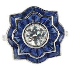 Vintage diamond sapphire art deco style ring, 18kt