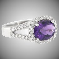 Vintage 14K Amethyst and Diamond Ring Size 5.5