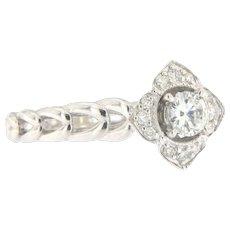 14K Vintage Flower Diamond Engagement Ring