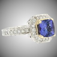 Vintage 14k Two Tone Tanzanite and Diamond Ring Size 7