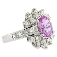 Vintage Platinum Pink Sapphire and Diamond Ring Size 6 (sizeable)