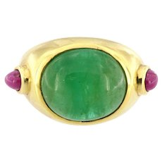 Vintage 18kt Gold Emerald Cabochon and Ruby Ring Unisex