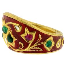 Vintage 18K Red Enemal Archer's Ring Mughal India