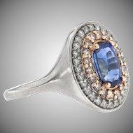 Vintage 18K Oval Saphhire and Diamond Ring
