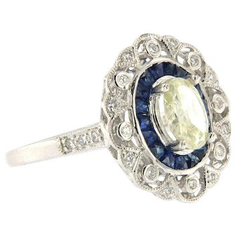 Vintage Oval Diamond within Sapphire Halo, Filigree Ring, 18kt