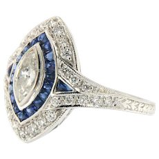 Marquise Diamond in Sapphire Halo Ring, 18kt