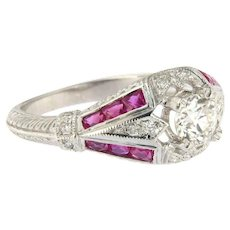 18KT Authentic European Cut Diamond and Ruby Engagement Ring