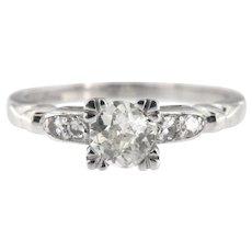 Art Deco Platinum European Cut Diamond Engagement Ring Size 5.5 (sizable)