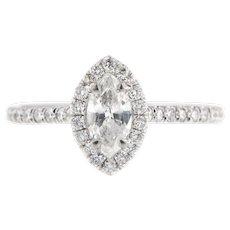 Vintage Marquise Diamond Engagement Ring Size  6 (sizeable)