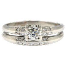Vintage Platinum Diamond Duo Engagement and Wedding Band Ring