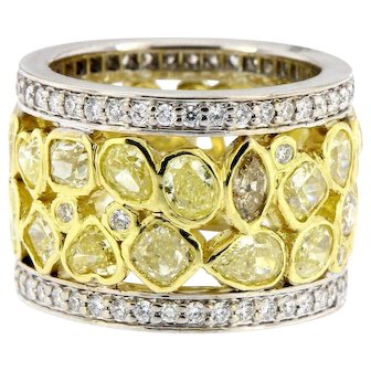 Wide 7.05 ct Yellow and White Diamonds Eternity Band
