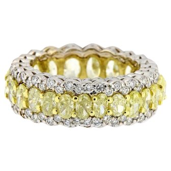 7.50 ct Oval Yellow and White Diamonds Eternity Band Ring