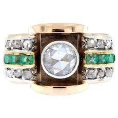 Diamond & Emerald Vintage Ring 2.25 ct tw