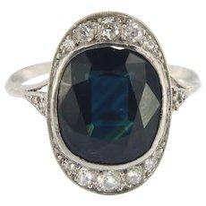 Vintage Platinum Sapphire and Diamond Ring Size 5.5 (sizeable)