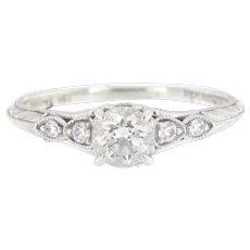 18K Estate Designer Amavida Milgrain Diamond Engagement Ring