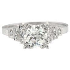 Art Deco European Cut Engagement Ring Size 7 (sizeable)