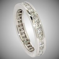 Diamond Princess-cut Anniversary Ring in 14 kt White Gold