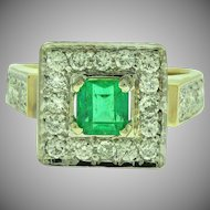 Vintage Emerald and Diamond Cocktail Ring